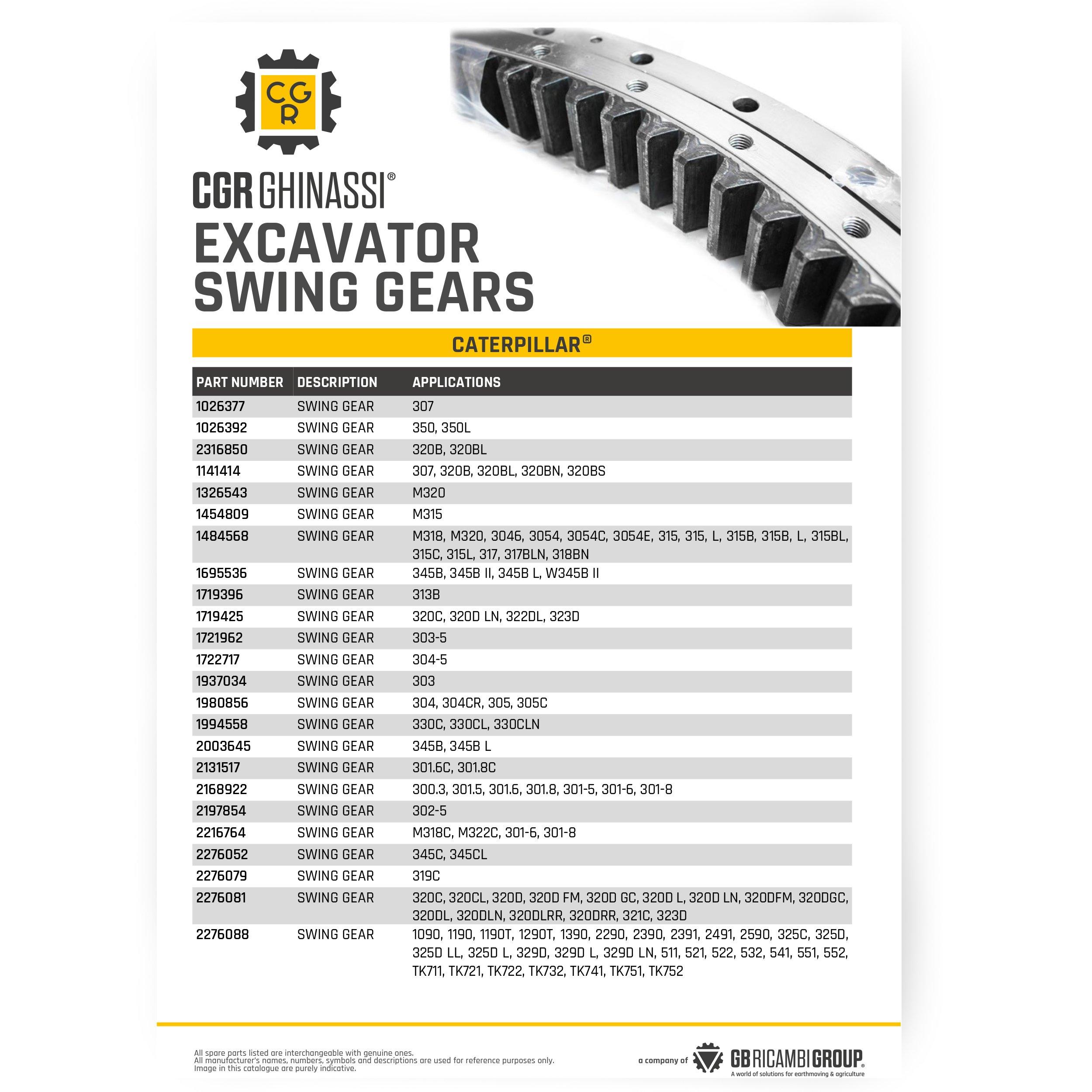 excavator swing gear
